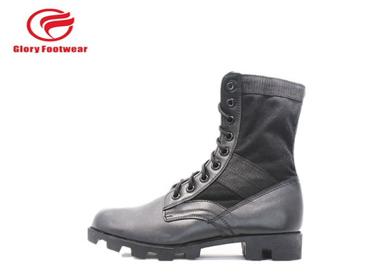 Cina Tempur Gaya Waterproof Grain Leather Military Boots Rubber Sole Dengan Steel Toe Cap Distributor