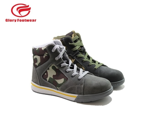 Cina Cow Suede Low Top Sepatu Safety Toe Dengan Karet Outsole Kamuflase Oxford Mesh Distributor